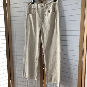 American Eagle Wide leg crop white denim raw hem